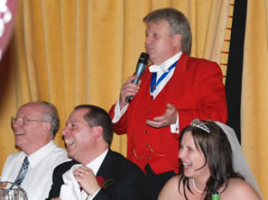 Wedding Toastmaster Richard Palmer at the top table for the speeches at Vaulty Manor, Heybridge, Essex